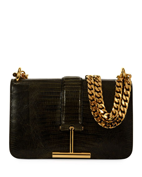 TOM FORD Tara Chain Tegu Lizard Shoulder Bag