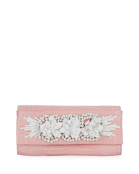 Nancy Gonzalez Floral Insert Crocodile Clutch Bag