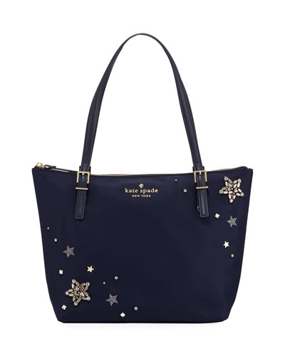 maya small nylon stars embellished tote bag