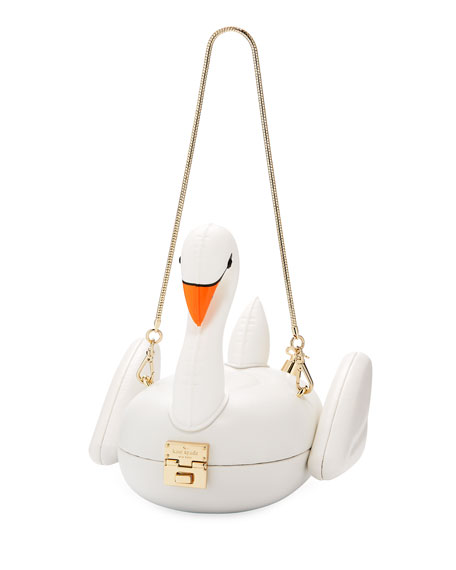 3D swan pool float clutch bag