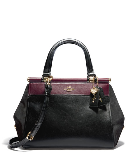 Coach Selena Grace Colorblock Mixed Leather Satchel Bag