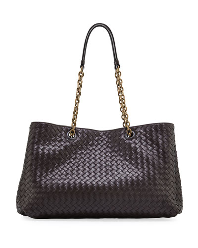 Intrecciato Medium Double Chain Tote Bag