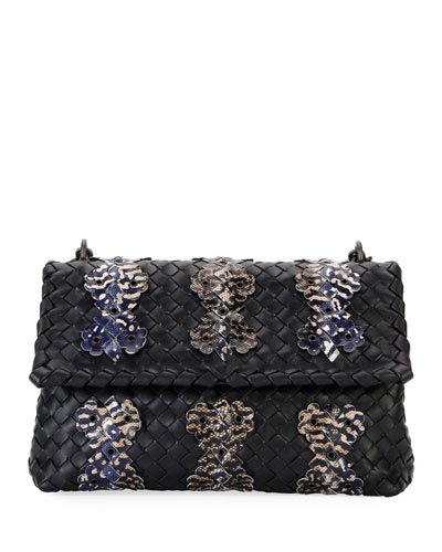 Olimpia Small Shoulder Bag with Snakeskin Trim