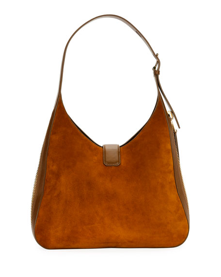 Tara Suede/Leather Shoulder Hobo Bag