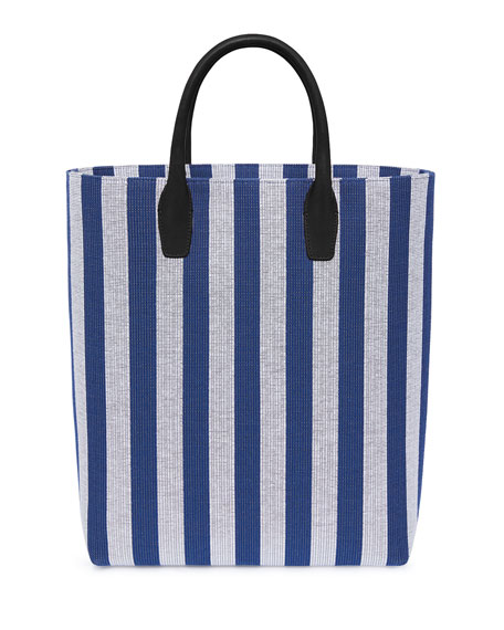 North South Striped Canvas Tote Bag in Blue