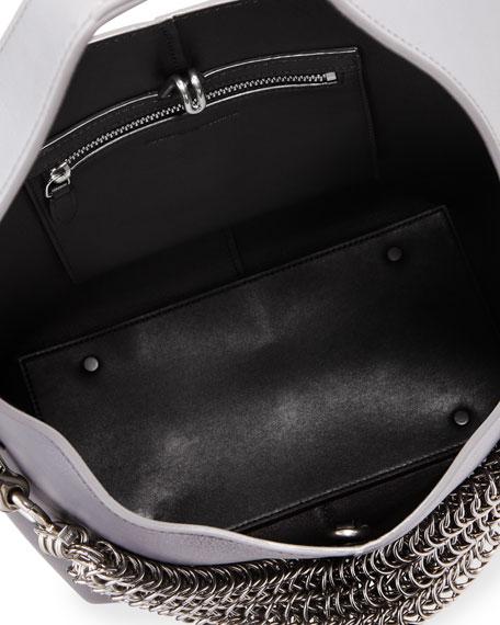 Genesis Box Chain Mini Hobo Bag, Washed Denim