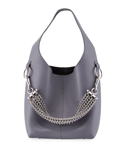 Genesis Box Chain Mini Hobo Bag, Washed Denim