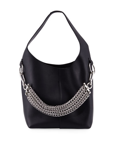 Genesis Box Chain Mini Hobo Bag, Black