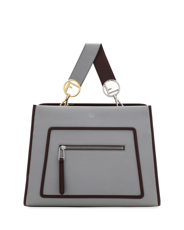 21e8003195 Fendi Runaway Medium Two-Tone Leather Tote Bag