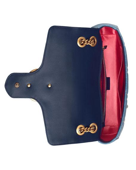GG Marmont 2.0 Medium Quilted Denim Shoulder Bag with Studs