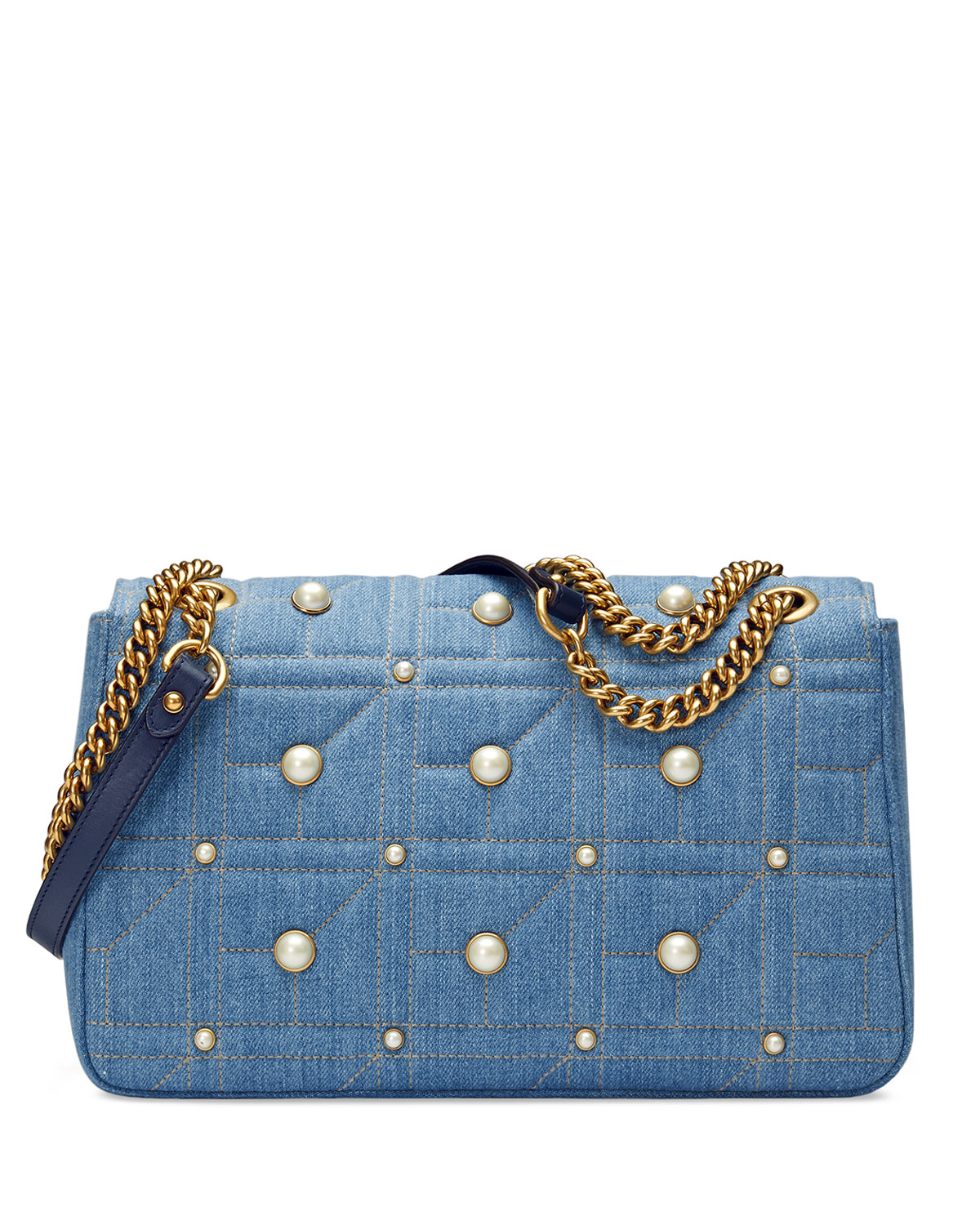 3bd901891372 Gucci GG Marmont 2.0 Medium Quilted Denim Shoulder Bag with Studs   Neiman  Marcus
