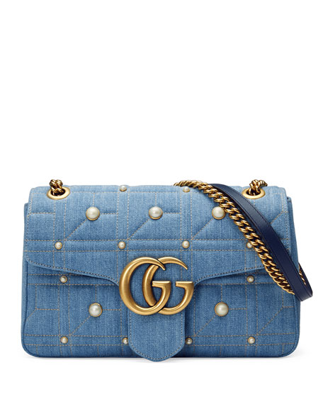 GG Marmont 2.0 Medium Quilted Denim Shoulder Bag with Studs