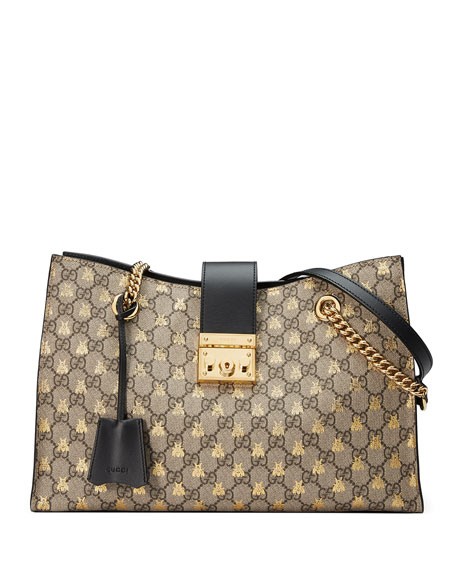 Padlock GG Supreme Canvas Bees Medium Shoulder Tote Bag