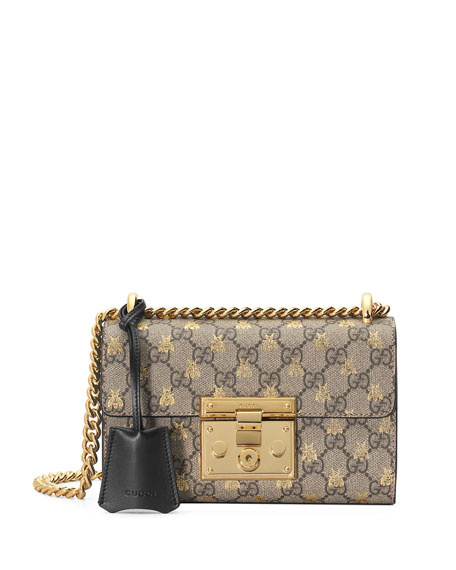 3922976ec199 Gucci Small Padlock Gg Supreme Bee Shoulder Bag - Beige