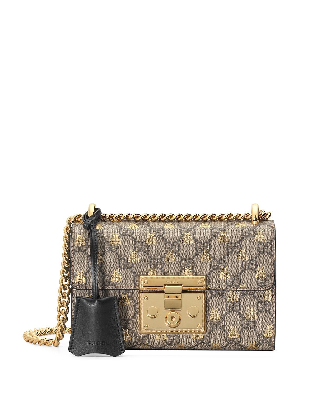 b533a0a56dbd1 Gucci Padlock Small GG Supreme Bees Shoulder Bag