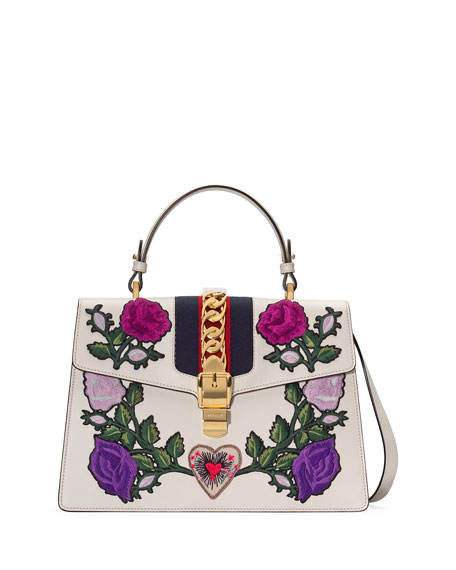 Gucci Sylvie Medium Floral Embroidered Leather Top-Handle Satchel