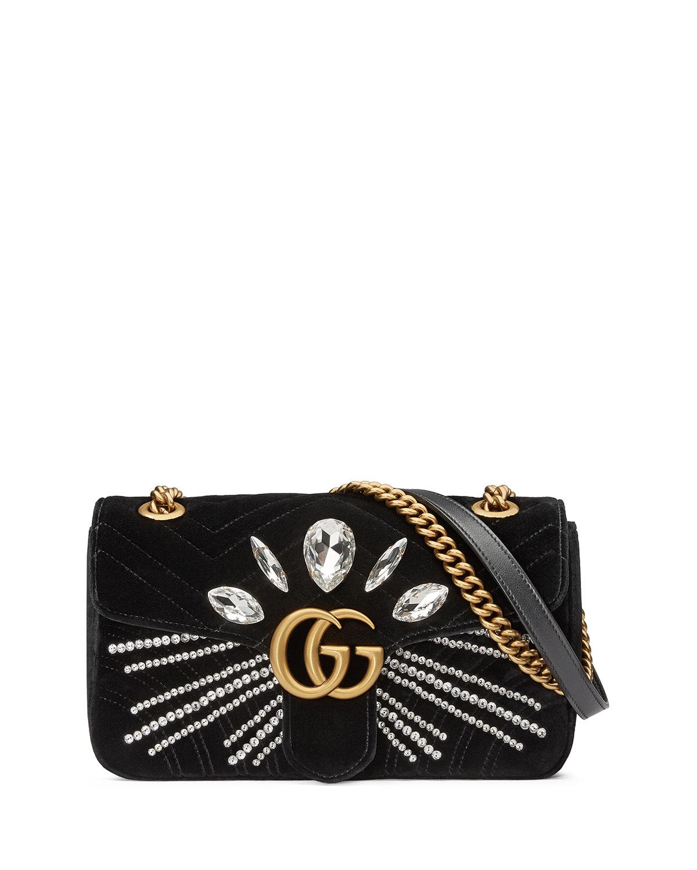 95832697a0f Gucci GG Marmont Small Crystal-Embellished Velvet Shoulder Bag ...