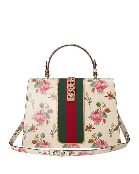 Sylvie Medium Floral Leather Top-Handle Satchel Bag