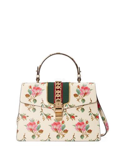 60fa5a4863e9 Gucci Sylvie Medium Floral Leather Top-Handle Satchel Bag