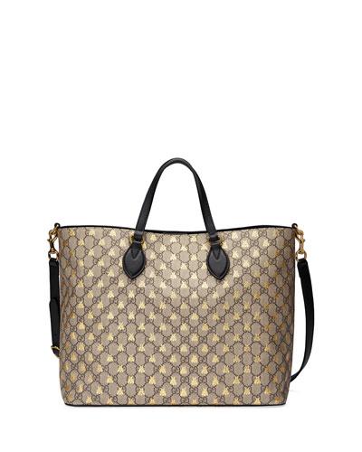 0b10a082e67c0a Gucci Bestiary GG Supreme Medium Top-Handle Tote Bag from Neiman ...