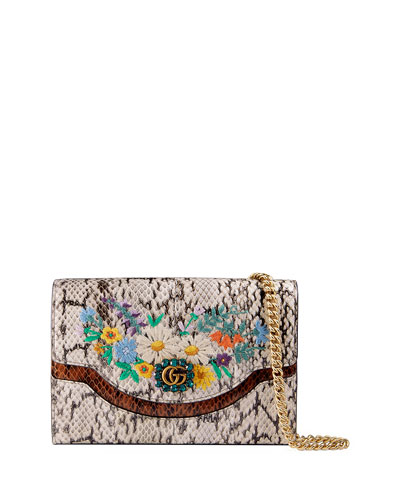 97ccfbbed06bf0 Gucci Ricamo Fiori Floral Snakeskin Wallet on a Chain from Neiman ...