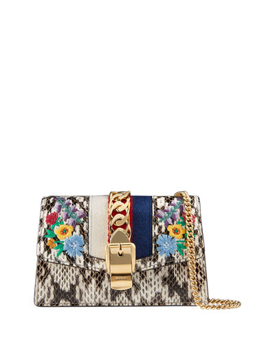 Sylvie Super Mini Floral-Print Snake Wallet on a Chain