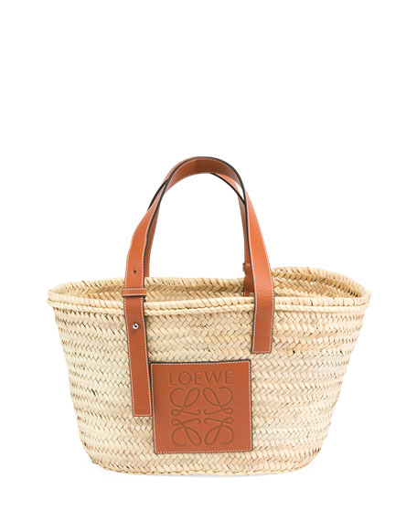 Medium Raffia Basket Tote Bag by Neiman Marcus