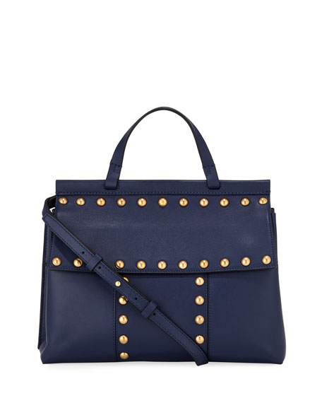 Block-T Studded Satchel Bag, Royal Navy