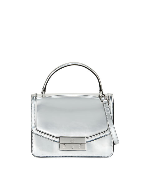 Tory Burch Juliette Mini Metallic Top-Handle Bag