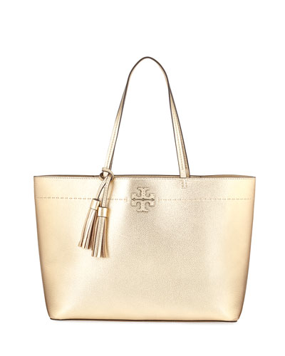 McGraw Metallic Leather Tote Bag, Gold
