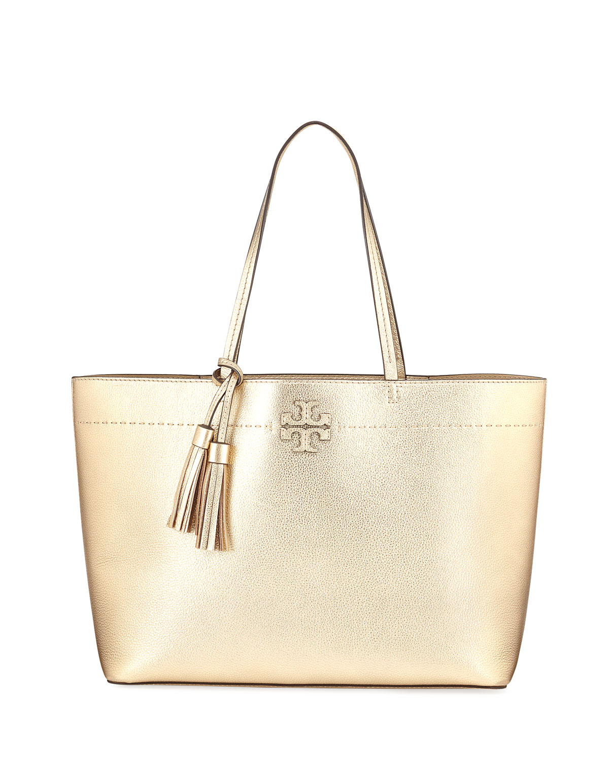 5a57cfdbaf Tory Burch McGraw Metallic Leather Tote Bag, Gold | Neiman Marcus