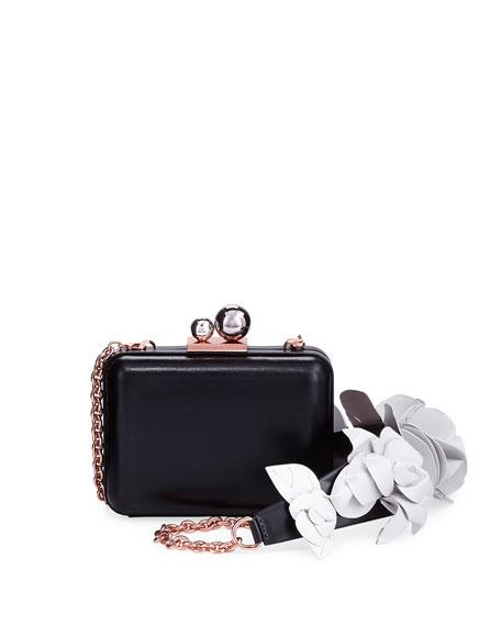 Vivi Lilico Napa Box Clutch Bag with Jumbo Flowers