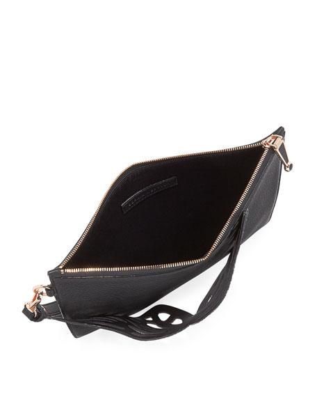 Flossy Butterfly Pochette Bag, Black