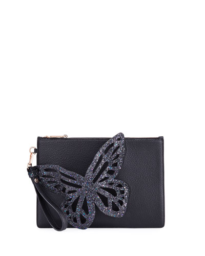 Flossy Butterfly Pouchette Bag, Black