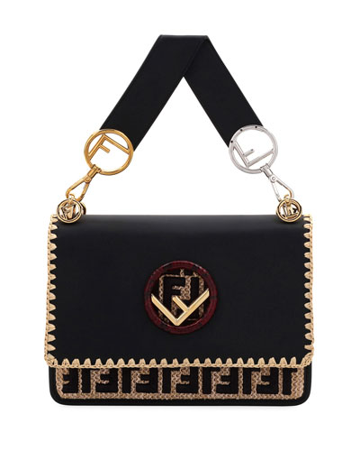 Fendi Kan I Logo Seal Calf/Python Shoulder Bag