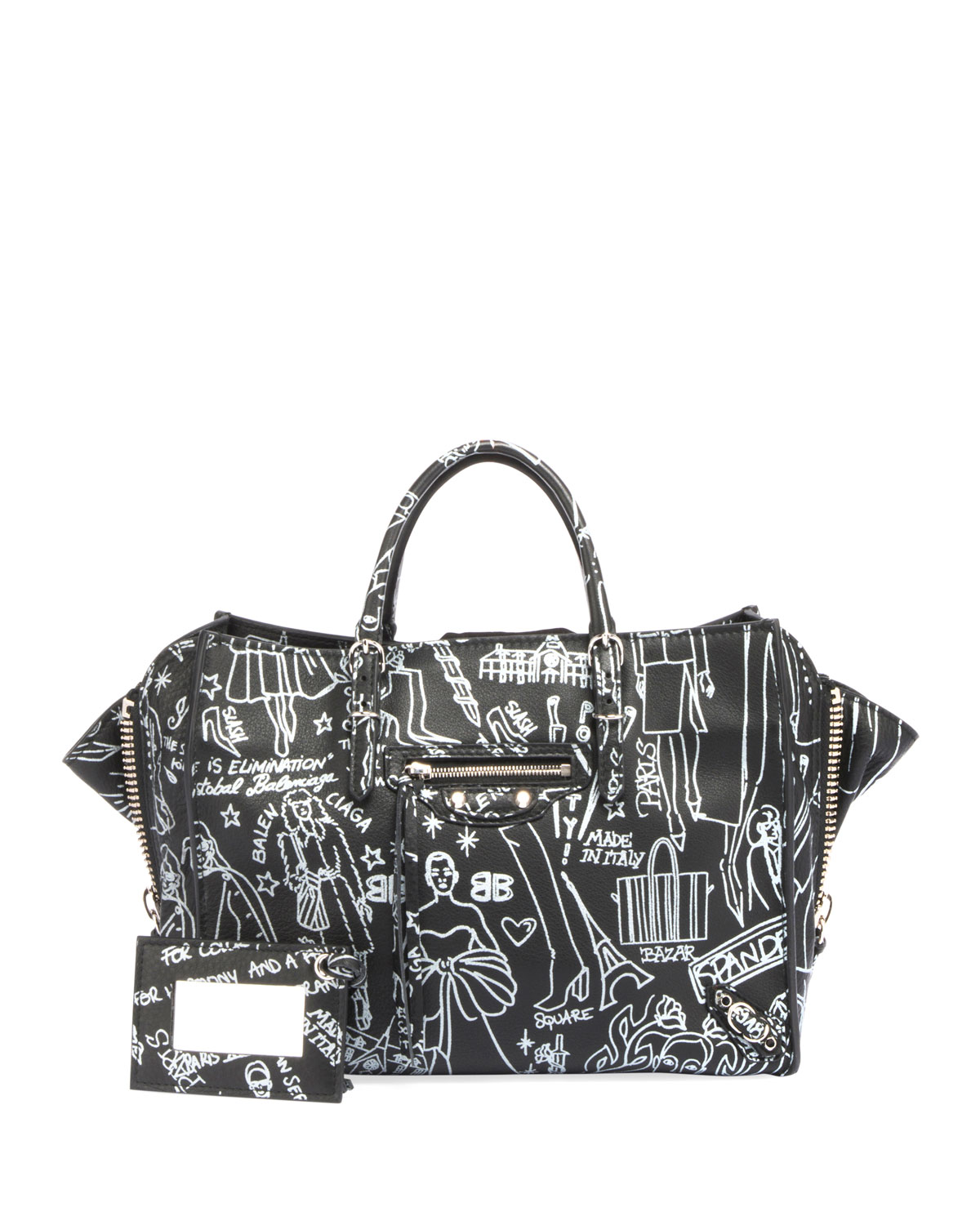 4cf667a9774009 Balenciaga Papier A6 Zip Around Graffiti Tote Bag | Neiman Marcus