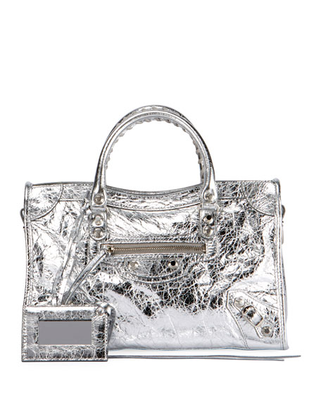 Balenciaga Classic City AJ Small Metallic Leather Satchel