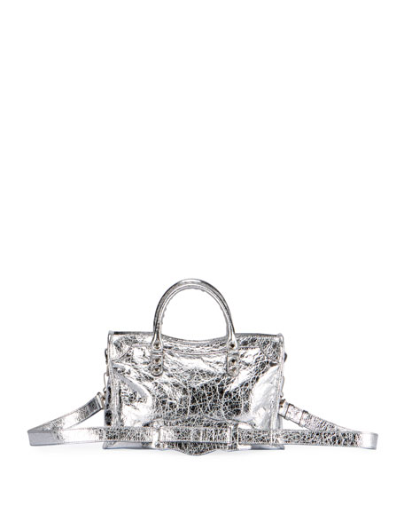 Classic City AJ Small Metallic Leather Satchel Bag