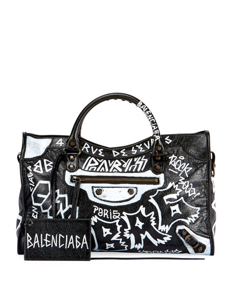 Balenciaga Classic City AJ Graffiti-Print Satchel Bag