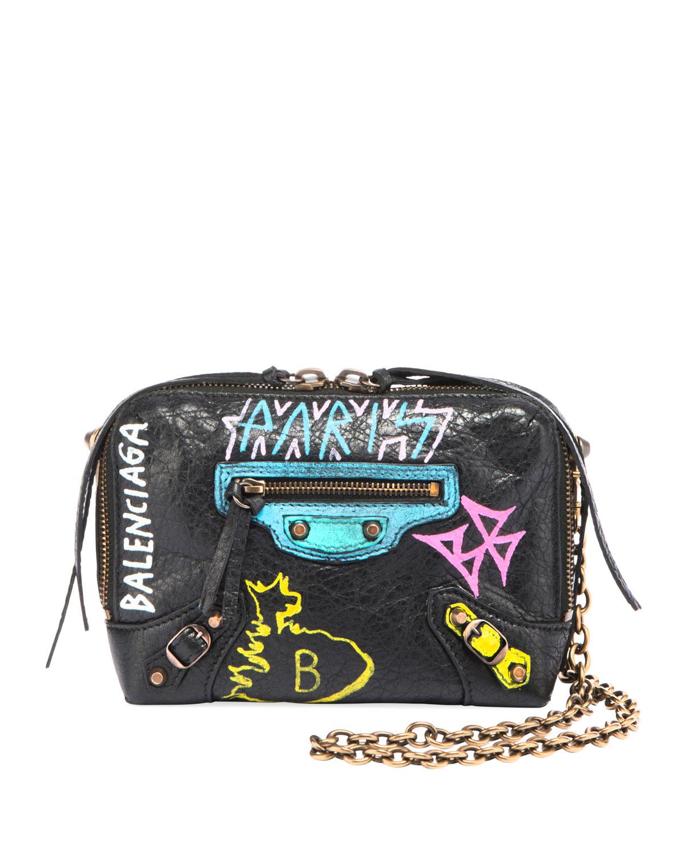 a50efed049d14 Balenciaga Classic Reporter XS Chain Graffiti Crossbody Bag