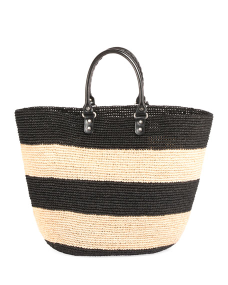 Balenciaga Panier Large Striped Raffia Tote Bag
