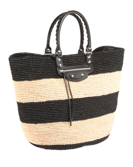 Panier Large Striped Raffia Tote Bag