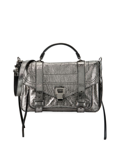 Proenza Schouler PS1+ Medium Metallic Paper Leather Satchel