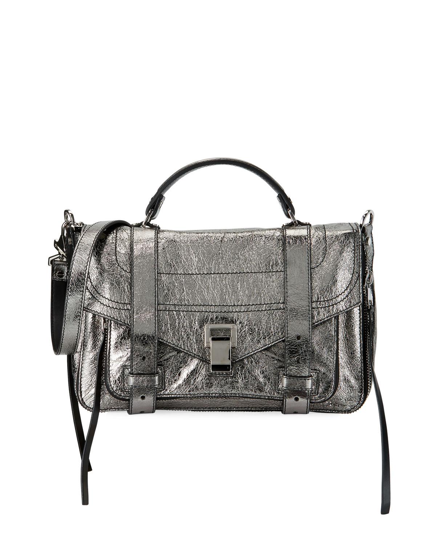 Proenza Schouler PS1+ Medium Metallic Paper Leather Satchel Bag ... 2f1ad82d92ea1