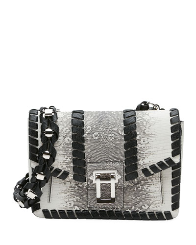 Hava Chain Lizard-Embossed Shoulder Strap