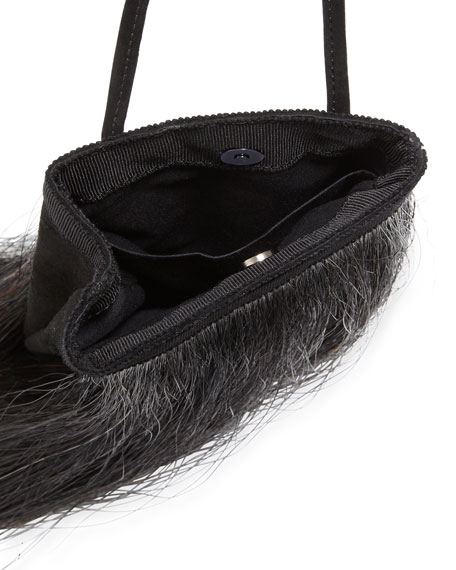 Mini Suede & Horsehair Satchel Bag