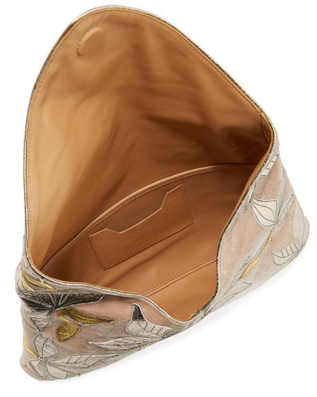 Velvet Metallic Leaf Clutch Bag