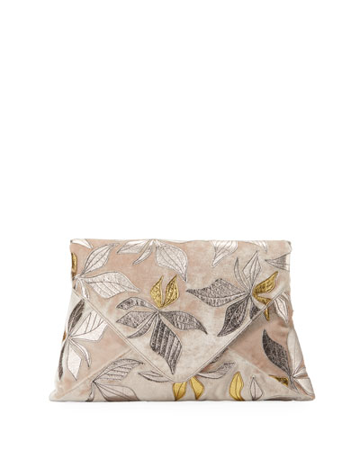 Velvet Metallic Leaf Clutch Bag