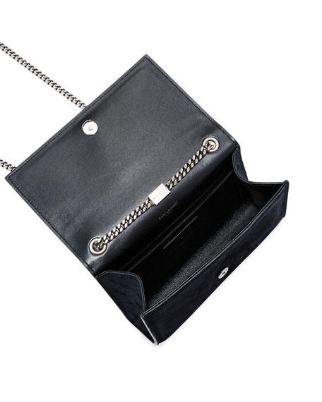 Kate Monogram YSL Small Stone-Studded Suede Shoulder Bag