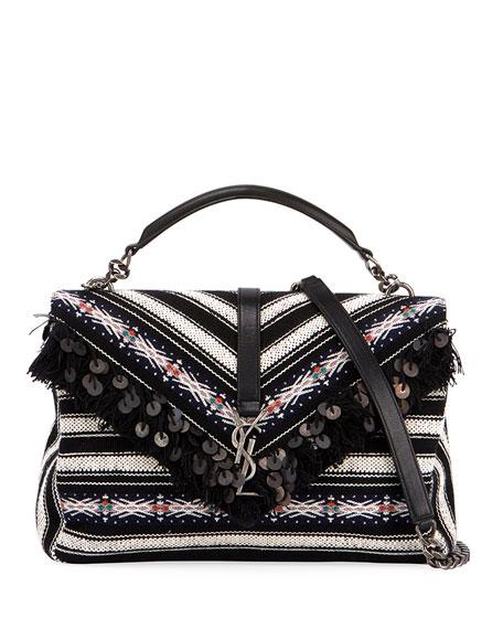 Buy For Nice For Sale Striped College large shoulder bag Saint Laurent Clearance Online Cheap Real vdkhom0J1
